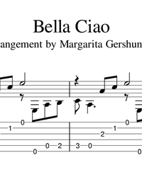 Sheet music, tabs for guitar. Bella Ciao.
