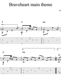 Sheet music, tabs for guitar. Braveheart (OST).