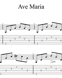Sheet music, tabs for guitar. Ave Maria.