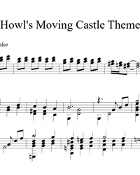 Sheet music, tabs for guitar. Howl's Moving Castle Theme.