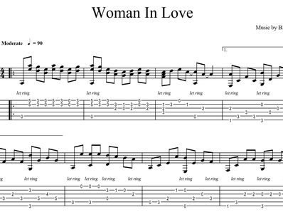 Sheet music, tabs for guitar. Woman In Love
