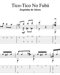 Sheet music, tabs for guitar. Tico Tico no Fuba.