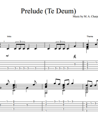 Sheet music, tabs for guitar. Prelude Te Deum.