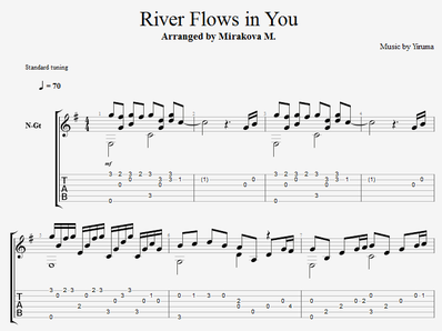 Sheet music, tabs for guitar. River Flows in You