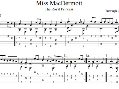Sheet music, tabs for guitar. Miss MacDermott (Princess Royal)