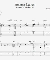 Sheet music, tabs for guitar. Autumn Leaves.