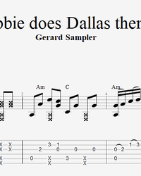 Sheet music, tabs for guitar. Debbie Does Dallas theme.