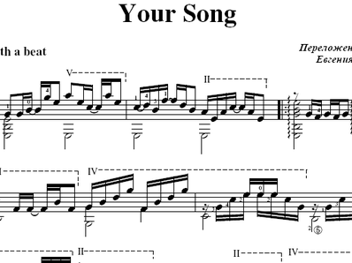 Sheet music, tabs for guitar. Your Song