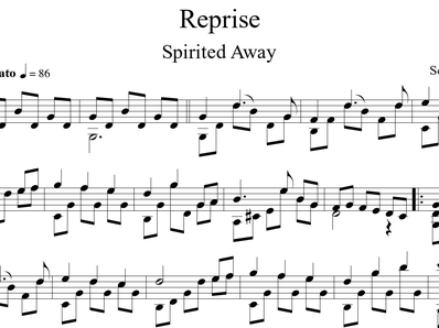 Sheet music, tabs for guitar. Spirited Away Theme