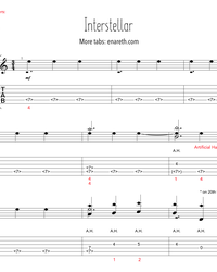 Sheet music, tabs for guitar. OST Interstellar.