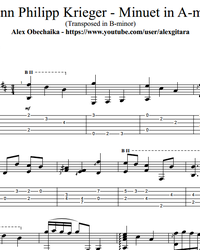 Sheet music, tabs for guitar. Minuet in A-minor (transposed in B-minor).