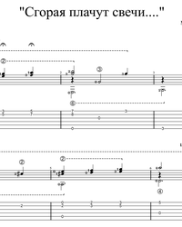 Sheet music, tabs for guitar. Ballad of Candles.