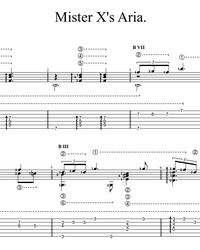 Sheet music, tabs for guitar. Aria of Mister X.