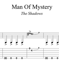 Sheet music, tabs for guitar. Man of Mystery.