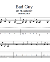 Sheet music, tabs for guitar. Bad Guy.