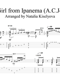 Sheet music, tabs for guitar. The Girl from Ipanema.
