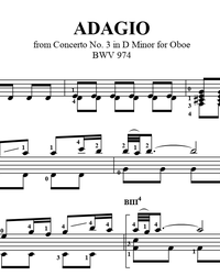 Sheet music, tabs for guitar. Adagio (D Minor, BWV 974).