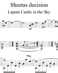 Sheet music, tabs for guitar. Laputa Castle in the Sky Theme.