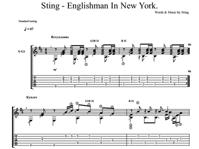 Sheet music, tabs for guitar. Englishman In New York