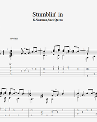 Sheet music, tabs for guitar. Stumblin' in.