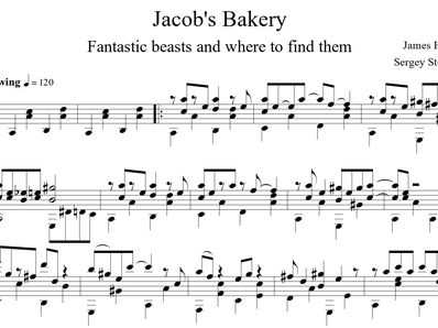 Sheet music, tabs for guitar. Jacob's Bakery