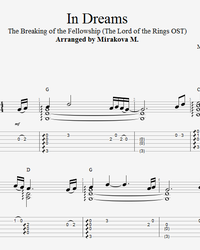 Sheet music, tabs for guitar. In Dreams (OST The Lord of the Rings).