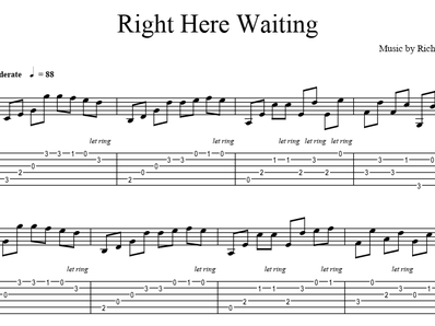 Sheet music, tabs for guitar. Right Here Waiting