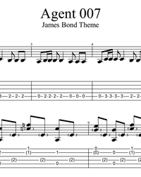 Sheet music, tabs for guitar. James Bond Theme.