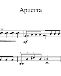 Sheet music, tabs for guitar. Arietta.