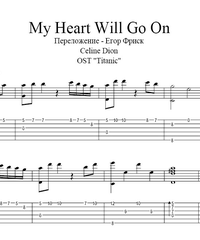 Sheet music, tabs for guitar. My Heart Will Go on .