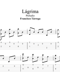 Sheet music, tabs for guitar. Tear (Lagrima).