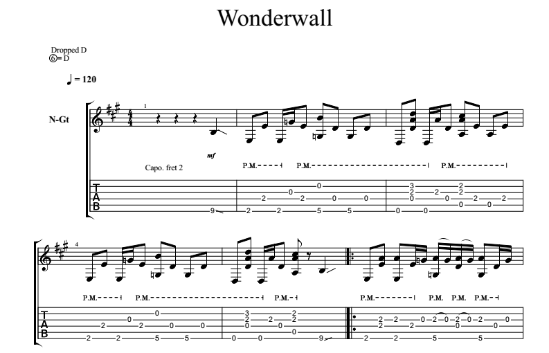 Wonderwall on guitar. Sheet music and tabs for a guitar.