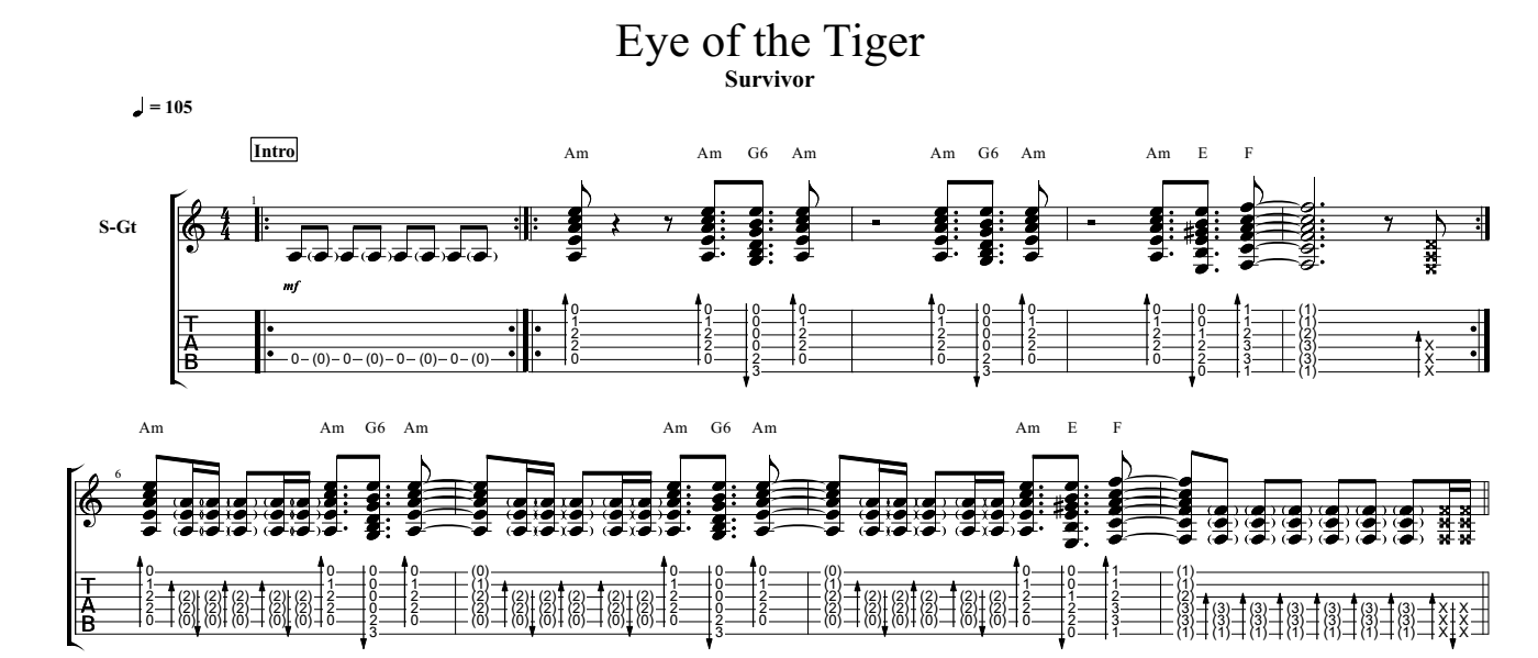 eye of the tiger for guitar guitar sheet music and tabs. Black Bedroom Furniture Sets. Home Design Ideas