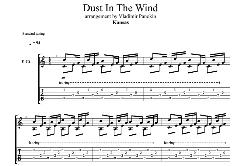 Dust In The Wind. Vladimir Panokin. Sheet music and tabs for a guitar.