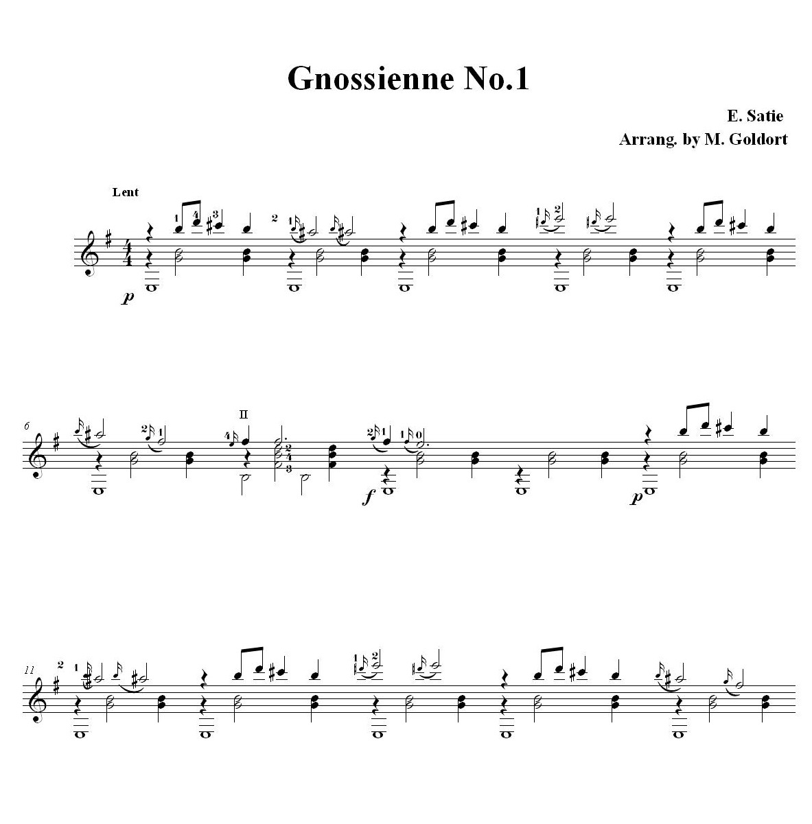 gymnopedie no 1 guitar tab pdf