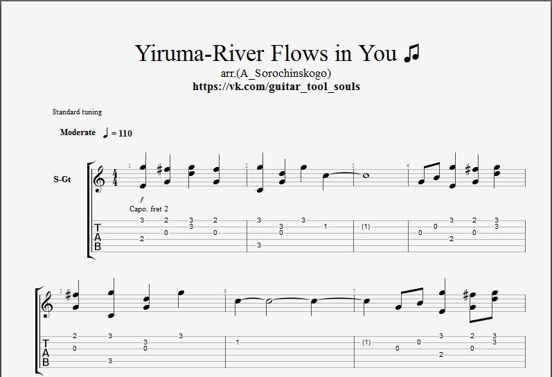 Ноты и табы River Flows in You для гитары скачать.