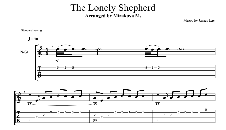 Одинокий пастух (The Lonely Shepherd) на гитаре. Ноты и ... Одинокий Пастух Ноты