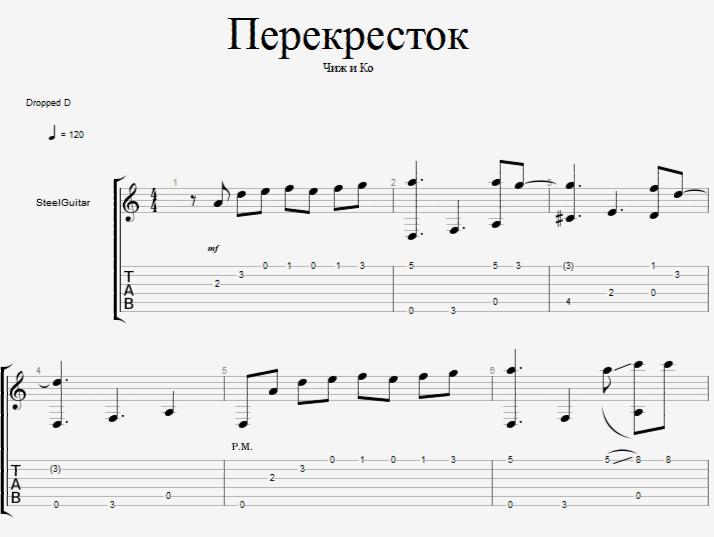 Ноты и табы Перекрёсток (вступление) для гитары скачать.