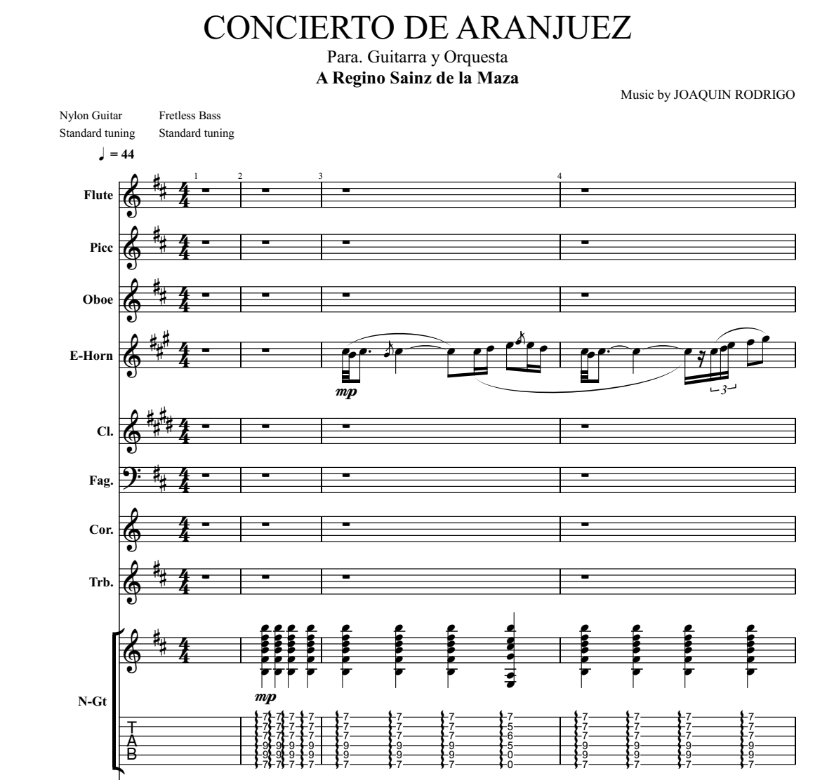 Concierto De Aranjuez Part Ii Adagio For Guitar Guitar Sheet Music And Tabs