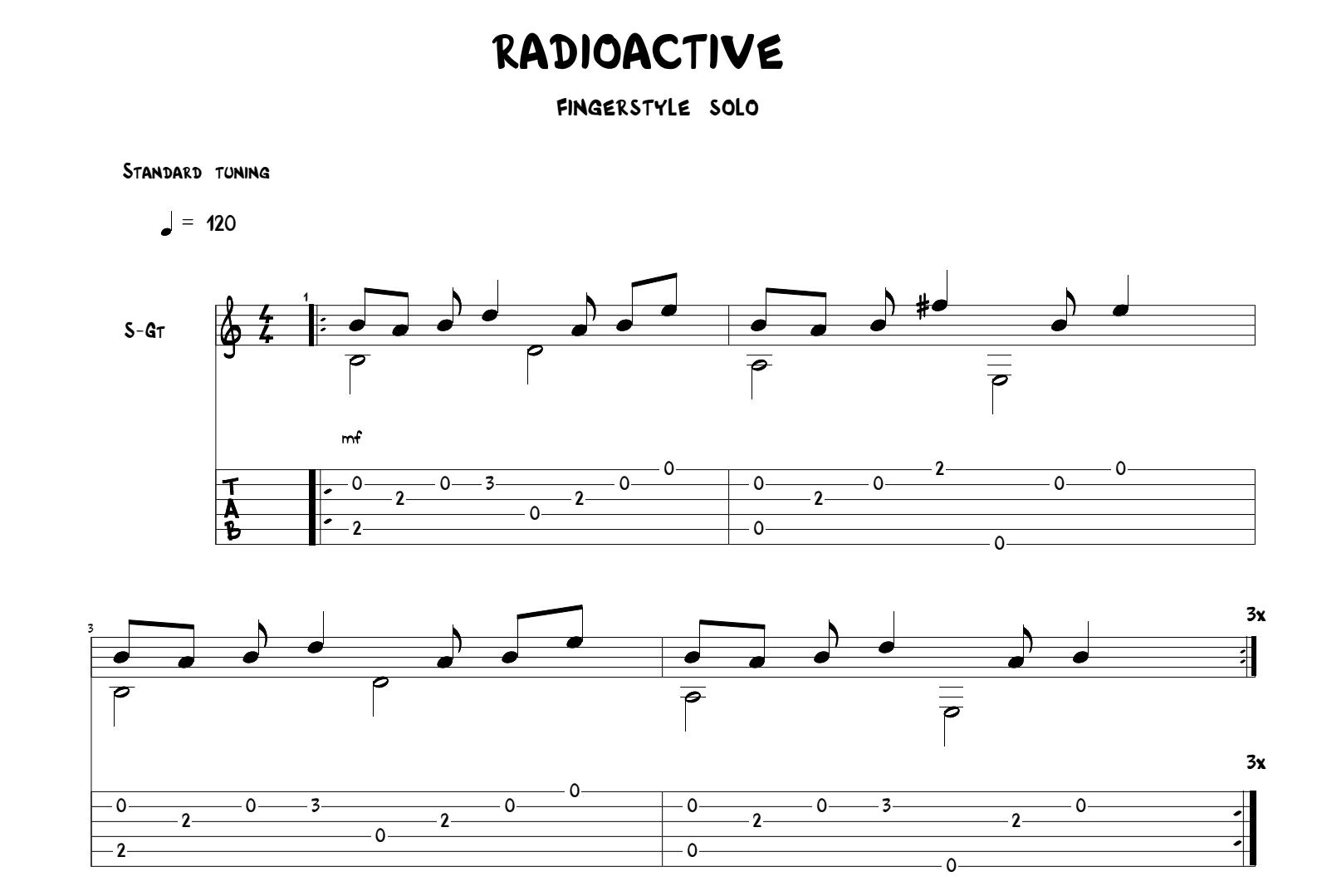 Radioactive for guitar. Guitar sheet music and tabs.