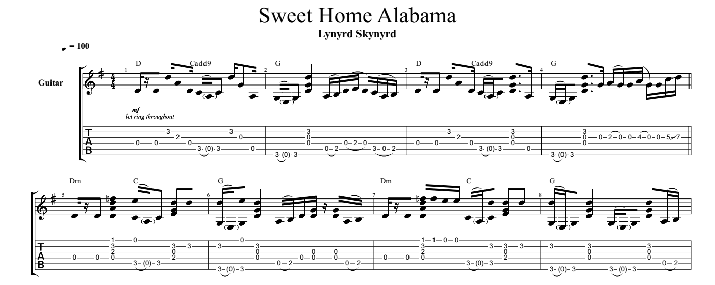 Sweet Home Alabama For Guitar Guitar Sheet Music And Tabs